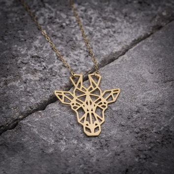 Origami Giraffe Pendant Necklace