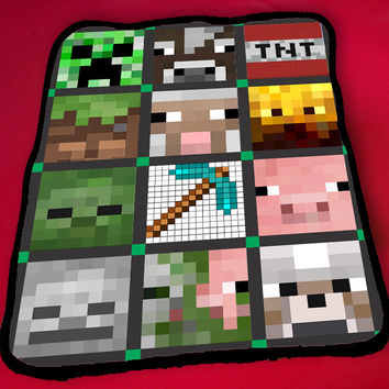 Kids Blanket Game Blanket All Character Popular Game Minecraft Blanket Fleece Blanket -  Minecraft Quilt Face-Lego Blanket, Minecraft and Lego Blanket, Cute and Awesome Blanket for your bedding, Blanket fleece