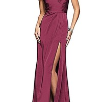 Women's Spaghetti Strap Sexy V Neck with High Split Evening Dress