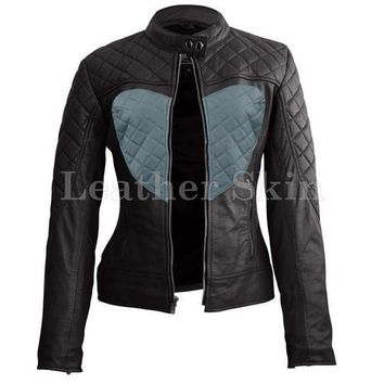 Leather Skin Women Shoulder Quilted Gray Love Heart Genuine Leather Jacket