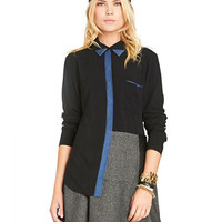 Bcbgeneration Contrast-Trim Button-Down Top