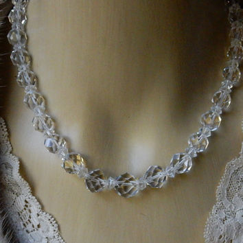 Clear Crystal Necklace Crystal Bead Necklace 1960s Necklace Austrian Crystal Perfect Gift