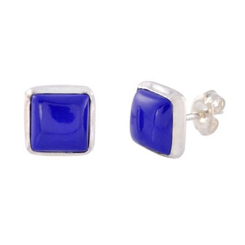 925 Sterling Silver Gemstone Stud Earrings Blue Lapis 9mm Square