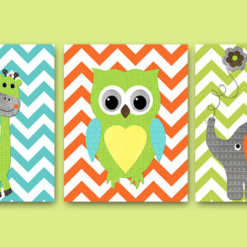 Neutral NURSERY ART Canvas Decor Nursery Wall Art Kids Room Decor Kids Art Owl Decor Giraffe Nursery Elephant Nursery set of 3 Orange Blue /