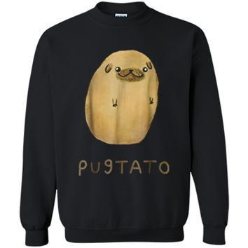Funny Cute Dog Pug Potato  Printed Crewneck Pullover Sweatshirt