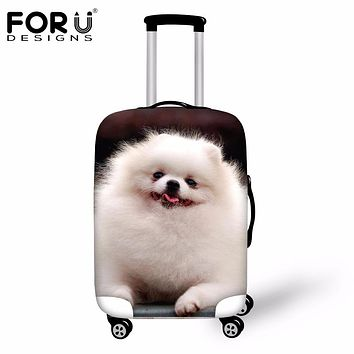 FORUDESIGNS Luggage Protective Cover 3D Pomeranian Print Travel Luggage Cover Animal Trolley Suitcase Cover for 18-30Inch Case