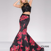 Jovani Floral 2 Piece Dress- Black/Print