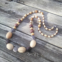 Long Beaded Wood Necklace, Hippie Necklace, Boho Necklace,Wood Beaded Jewelry, Gypsy Wiccan Pagan necklaces, LARP Cosplay, Tribal Jewelry