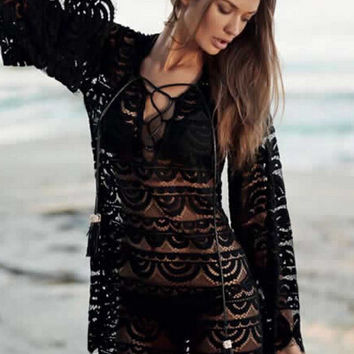 Black Crochet Lace Bell Sleeve Cover Up Beach Dress