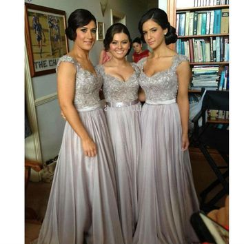 New Long Bridesmaid Dresses A Line Beaded Lace Bodice Gray Chiffon Dress See Through Back