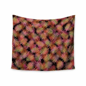 "Ebi Emporium ""TROPICAL PALMS, ORANGE PINK"" Orange,Pink,Pattern,Floral,Mixed Media,Watercolor Wall Tapestry"