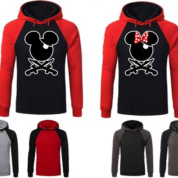 Mickey Minnie Pirate Couple Matching Love Set Raglan Hoodie