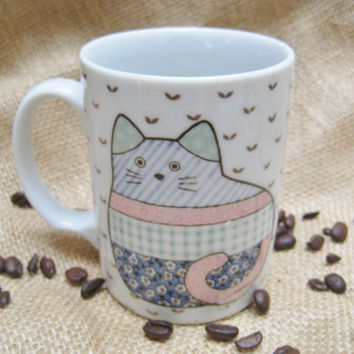 Cute Vintage Cat Coffee Mug by Kapigo on Etsy