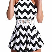 US-Lady Women's Halter Straps Zebra Stripes Swing Jumpsuit Playsuit