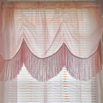 Fringe Curtain Sheer Pink Curtain Boho Curtain Bohemian Curtain Teen Girls Bedroom Girls Room curtains Little Girls Bedroom Girls Nursery