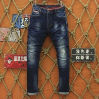 2017 new famous brand design fashion jeans men hight quality cotton ripped stretch long pants L9892