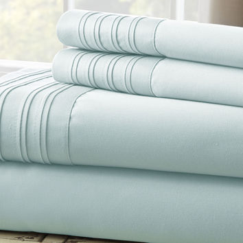 1000 Thread Count 4-Piece Sheet Set with Pleated Hem Misty Blue Queen