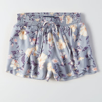 AEO Silky Petal-Front Soft Shorts, Blue