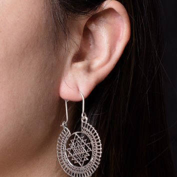 Silver Sri Yantra Earrings