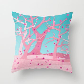 Spring trees Throw Pillow by EDrawings38