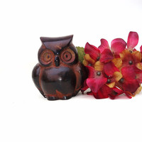 Vintage Metal Owl Sculpture Brown Owl Figurine Paperweight Chubby Owl