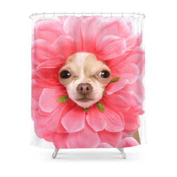 Society6 Chihuahua Flower Shower Curtain