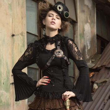 Steampunk Sexy Gothic Halter Lace Blouse with Trumpet Sleeves