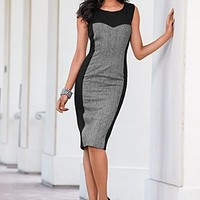 Black Multi (BKMU) Tweed Panel Sheath Dress
