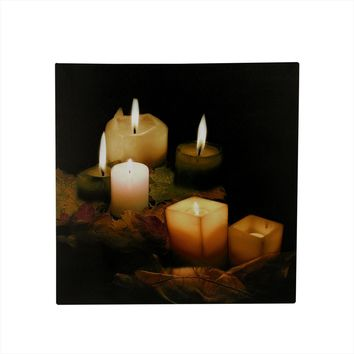"LED Lighted Flickering Candles and Leaves Canvas Wall Art 12"" x 12"""