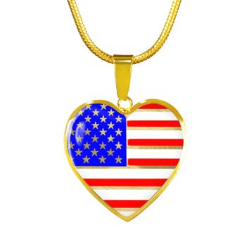 USA flag, patriotic pride luxury surgical steel bracelet or necklace in gold or silver