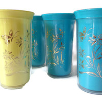 1950's Insulated Tumblers-Steri-Lite Plastic Tumblers-Drinking Glasses-Set of 7-50's Vintage Kitchen-Gold Butterflies-Insulated Cups-Retro