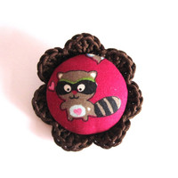 Handmade raccoon pin