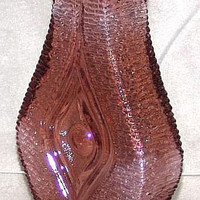 "Austrian Vintage retro Textured Pale Purple aubergine Art Glass 'Eye' Vase by Oberglas 8 3/4"" tall c1960's (ref: 3141)"
