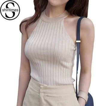 PEAPGB2 Off Shoulder Tank Top Femme Knitted Cotton Crop Top Women 2016 Winter Tops Halter Cropped Debardeur Blouses Vest  Woman Clothes
