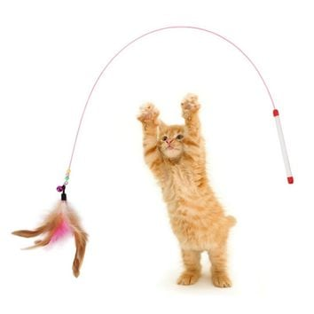 Cat toys high toughness steel wire fish shaped line badminton clocks funny air interactive flirting magic wand cute pet products