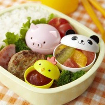 ANIMAL CUPS Food Cups - 3pcs Panda Pig Chick Bento Lunch box Japan style kawai!