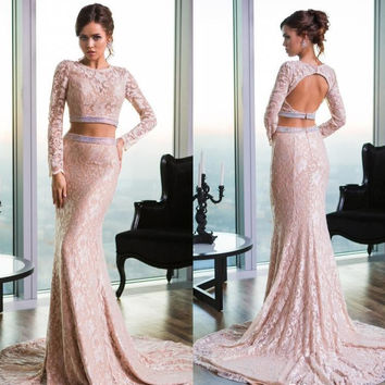 Long Sleeve Lace Backless Prom Dresses