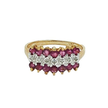 Gold 10K Ruby/Diamond Ring. Size 7