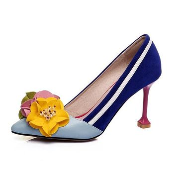 Genuine leather original design thin high heels shallow women flowers luxury pumps pointed toe brand shoes