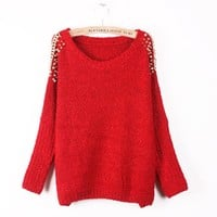 Spiked Shoulder Sweater (3 colors)