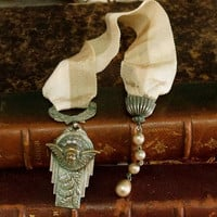 Vintage 60s silver medal Angel verdigris bookmark aged Cherub medal bookmark jewelry book decor