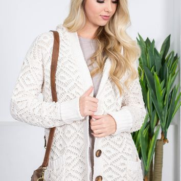 Arthur Ivory Knit Button-up Cardigan