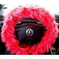 Red Fuzzy Steering Wheel Cover, Car accessories, Fuzzy Car Accessories