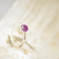 Amethyst Solitaire Ring, Friendship Band, Purple Gemstone Ring, Promise Ring, Februrary Birthstone, Chastity Ring