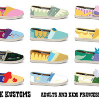KOOAK Kustoms Disney Princess Inspired Toms Flats for Kids - Choose your Princess