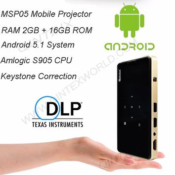 QINTAIX MSP05 Amlogic S905X Android Mini Projector 2GB+16GB Pocket Projector Keystone Correction + Support 4K Video play DLP