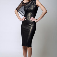 NEW Cocktail Dress / Designer Off Shoulder Mesh Dress / Party Dress / Shift Sparkly Dress / Black Dress / LBD / marcellamoda - MD099