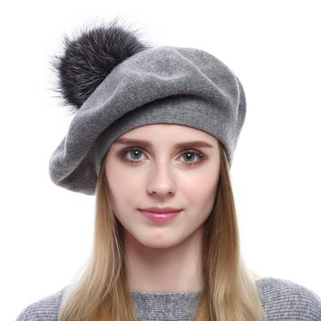 Queenfur Women Wool Beret - Real Silver Fox Fur Pom Pom Beanies Winter Knit Cashmere Hats