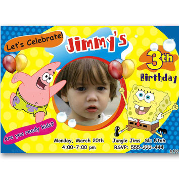 Spongebob Squarepants Polka Dot Colorful  Kids Birthday Invitation Party Design