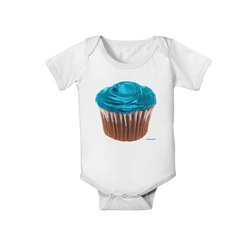 Giant Bright Turquoise Cupcake Baby Romper Bodysuit by TooLoud